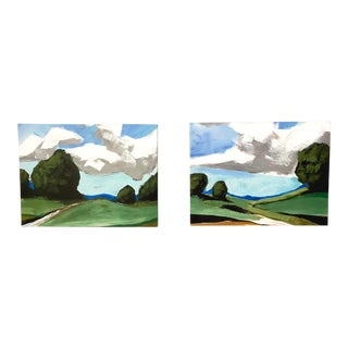 Contemporary Summer Landscape Prints on Canvas - a Pair For Sale