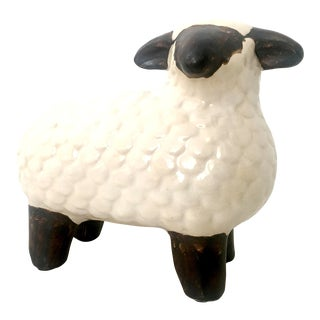 21st Century and New Ceramic Glaze Hand Painted Lamb Sculpture For Sale