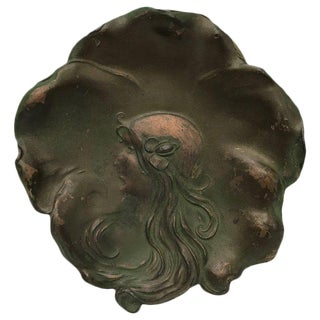 Art Nouveau Lady Plate, Signed and Dated 1906 For Sale