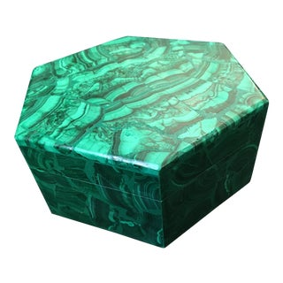 Final Markdown> Russian Malachite Hexagona Box For Sale