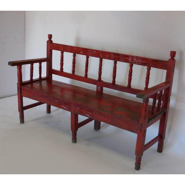 Red Small Vintage Painted Carved Bench For Sale - Image 8 of 8