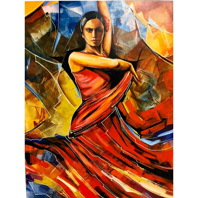 "Original Galya Bukova ""Flamenco"" Acrylic Painting For Sale"