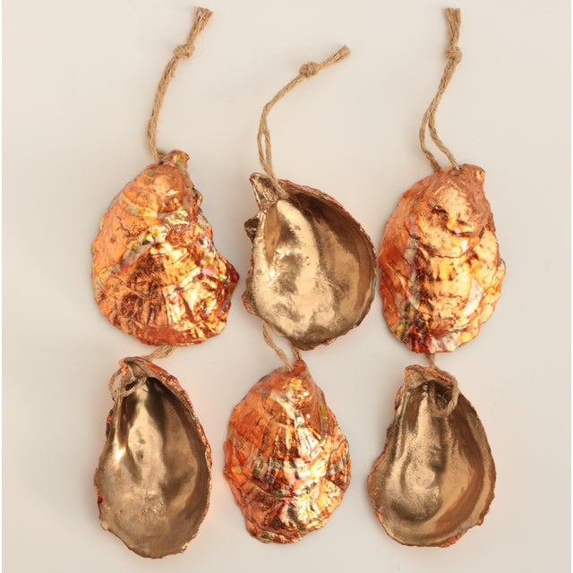 Paint Flame Gilded Oyster Shell Christmas Ornaments - Set of 6 For Sale - Image 7 of 9