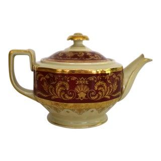 Heinrich and Co. Selb H & C Bavaria German Porcelain Red and Gold Encrusted Tea Pot For Sale
