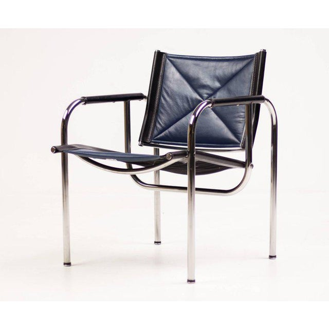 Hans Eichenberger for Strassle Blue Leather Armchairs For Sale - Image 10 of 10