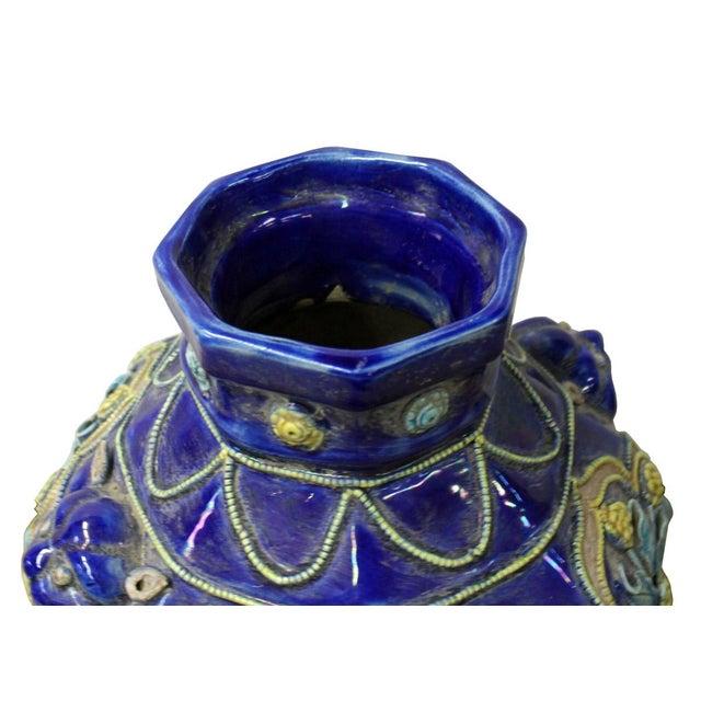Handmade Ceramic Navy Blue Dimensional Flower Vase For Sale - Image 5 of 7