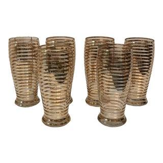 Gold Band Vintage Cocktail Glasses - Set of 6 For Sale
