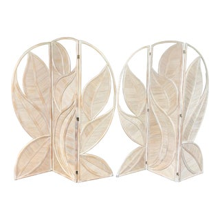 Pair of Palm Leaves Rattan Divider For Sale