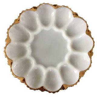 Gilt Milk Glass Mid Century Egg Plate Anchor Hocking For Sale