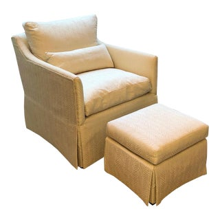 Transitional Lounge Chair and Ottoman Set - 2 Pieces For Sale
