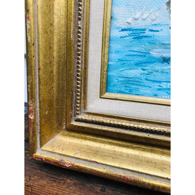 Sky Blue Vintage Sailboat Ocean 3d Art Painting Signed in Antique Gold Frame For Sale - Image 8 of 13