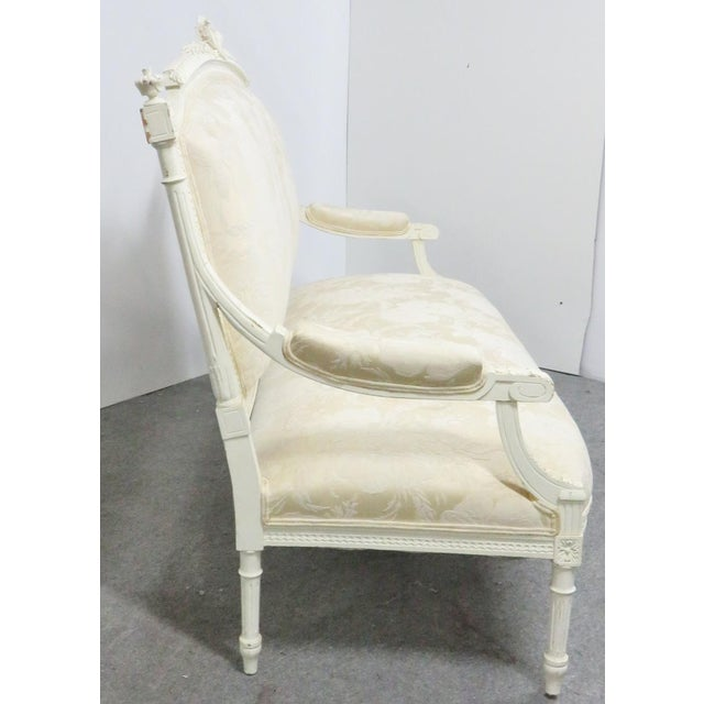 Louis XVI Louis XVI Style White Carved Sofa For Sale - Image 3 of 8