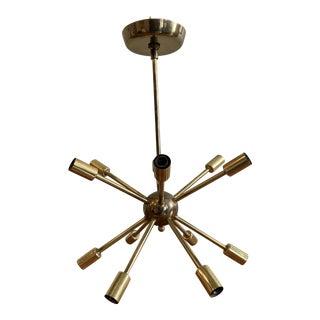 1960's Mid Century Modern Brass Sputnik Light Fixture For Sale