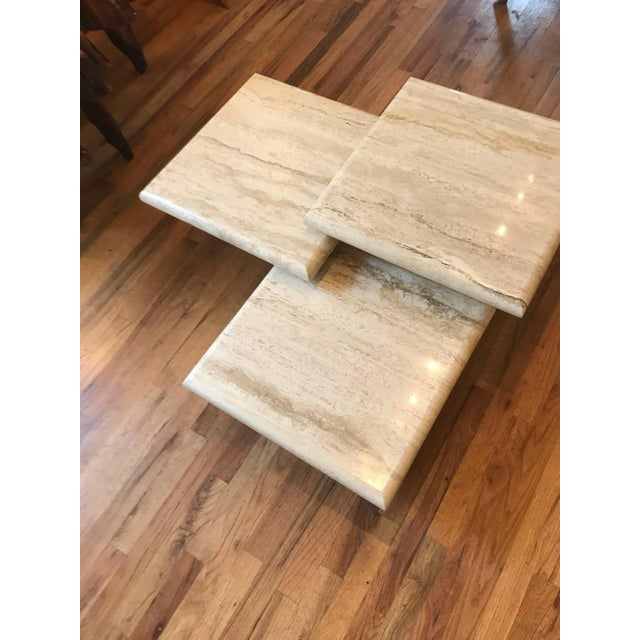 Stone Set of Three Italian Square Travertine Coffee Table For Sale - Image 7 of 11