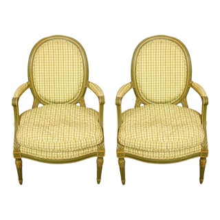 Louis XVI Style Armchairs with Quilted Check Fabric - a Pair For Sale