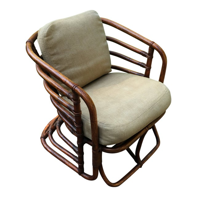 1970s Boho Chic Brown Jordan Rattan Arm Chair For Sale