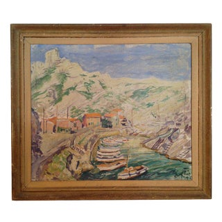 Post Impressionist Style Painting of the Calanque Sea Shore For Sale