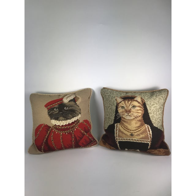 Handmade Needlepoint Royal Cat Pillows - A Pair For Sale - Image 9 of 9