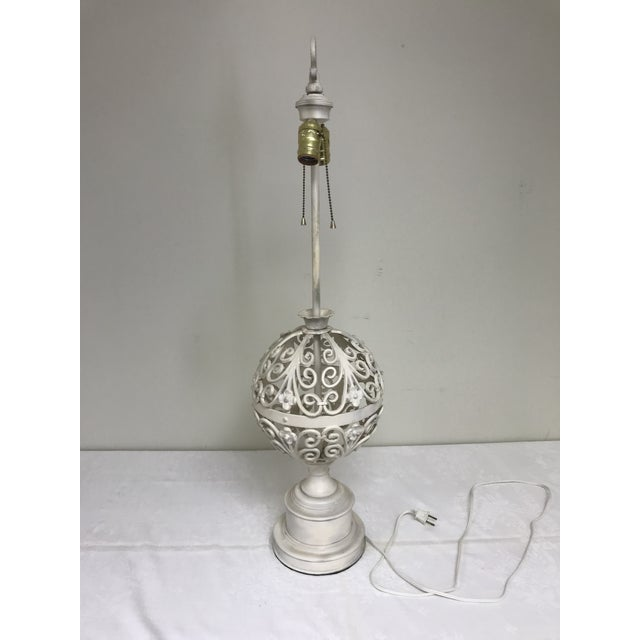 Leviton 1960s Shabby Chic Wrought Iron Filigree White Painted Table Lamp For Sale - Image 4 of 10