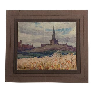 View of Church From the Fields Watercolor Painting by Achille Mohrien