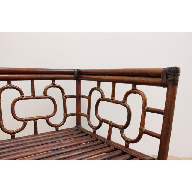 1950s Chinese Chippendale Bamboo and Leather Sofa For Sale - Image 5 of 10