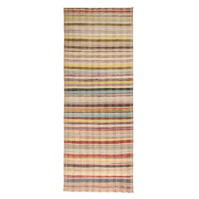 Textile Vintage Chaput Geometric Striped Beige-Brown and Multicolor Wool Kilim Runner Rug For Sale - Image 7 of 7