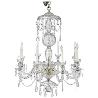 19th Century Irish Crystal Chandelier in Georgian Style For Sale