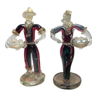 1950 Venetian Murano Glass Red and Green Figurines - a Pair For Sale