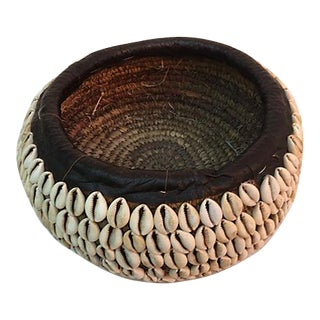 African Tribal Shell Basket For Sale