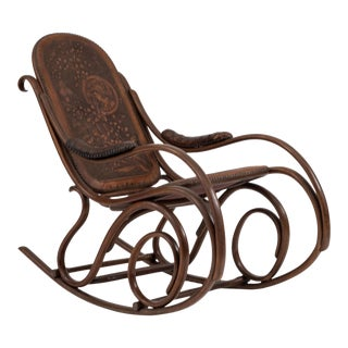 Austrian Bentwood Scroll Leather Rocking Chair For Sale