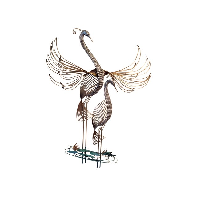 C. Jere Cranes in the Marsh Sculpture - Pair For Sale