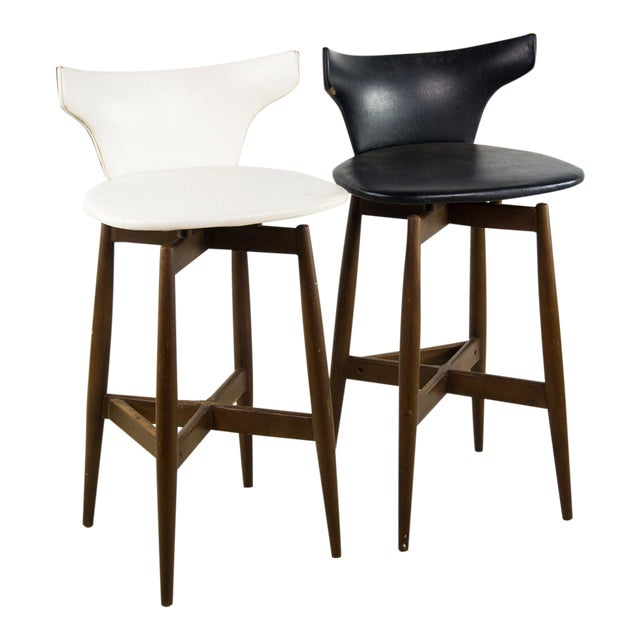 Seymour James Wiener for Kodawood Mid-Century Vinyl Swivel Barstools - A Pair For Sale