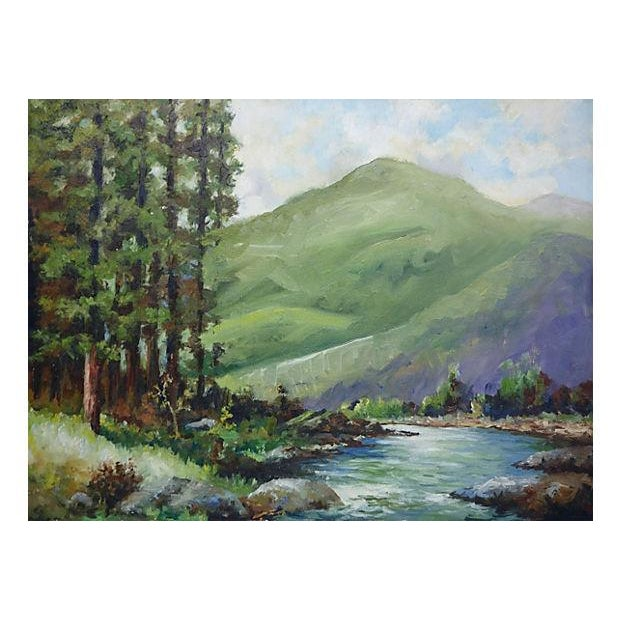 Painting of a River with Green Hills & Trees - Image 1 of 4