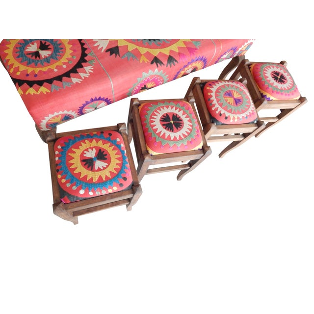 Set of 5 Suzani Covered Bench Handmade Ottoman From Anatolian With 4 Pieces Footstool For Sale - Image 10 of 13