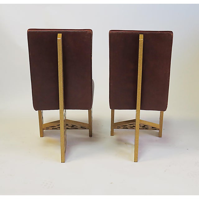 Exceptional sophisticated and visionary pair of chairs designed and executed by noted designer Robert Hutchinson active...