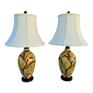 Ceramic Table Lamps with Shades - a Pair For Sale