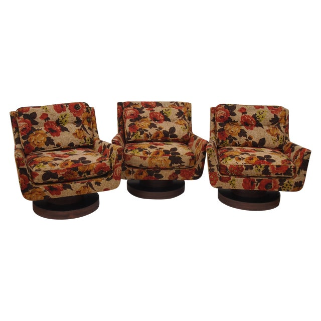 Floral Print Modern Lounge Chairs - Set of 3 - Image 1 of 4