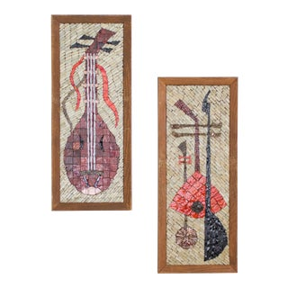 Mid Century Mosaic Art, Set of Two String Instrument / Music Themed For Sale