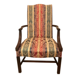Vintage Silk Damask Martha Washington Chair For Sale
