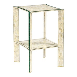 1970s Hollywood Regency Maitland Smith Tessellated Stone and Malachite Side Table For Sale