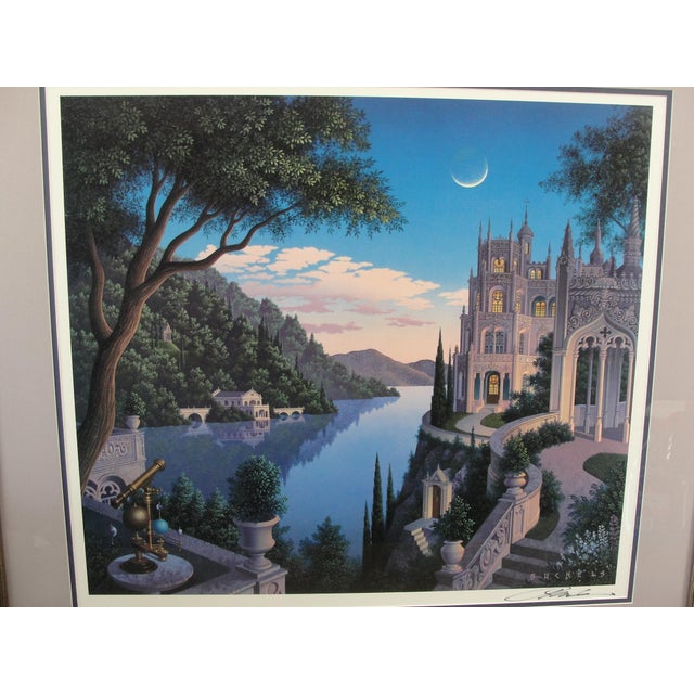 Fantasy Art Original Print CHESHIRE MOON by Jim Buckels This is an original print that has been professionally double...