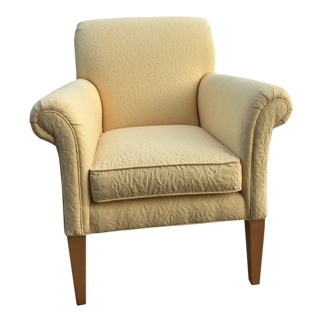 Ethan Allen Upholstered Yellow Accent Chair For Sale
