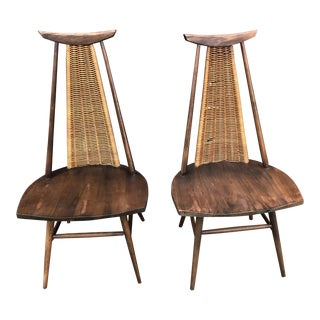 Mid Century Modern Sculptural Arthur Umanoff Rocking Woven Cord Rope Chairs - Pair For Sale