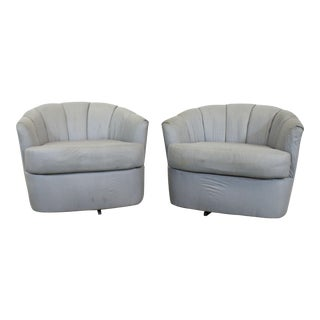 Pair of Mid-Century Danish Modern Selig Barrel Back Swivel Club Chairs For Sale