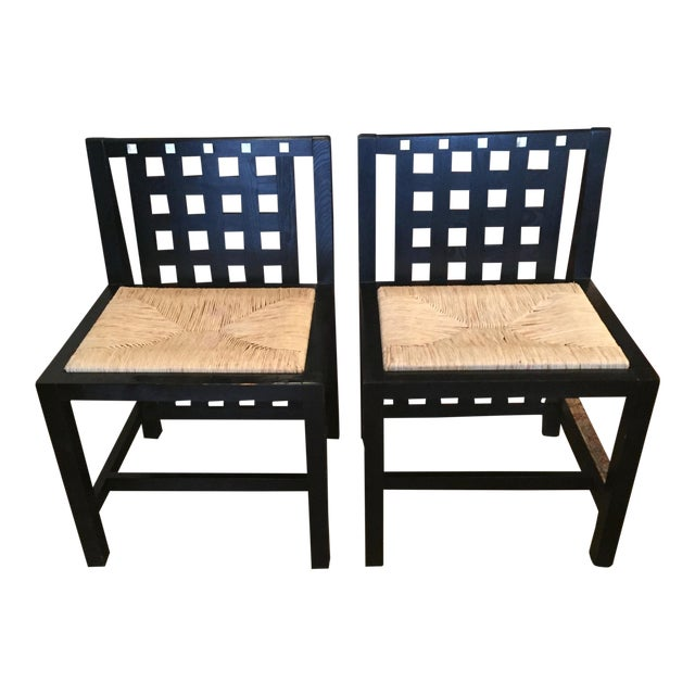 1970s Art Nouveau Charles Mackintosh Dining Chairs - a Pair For Sale