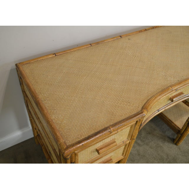 Tan Vintage Rattan Writing Desk For Sale - Image 8 of 12