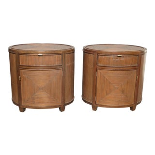 Vintage McGuire Furniture Brown Oval Bamboo Reed Nightstands - a Pair