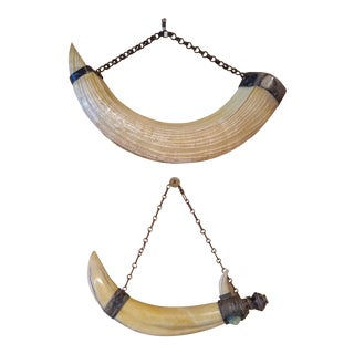 Vintage African Boar Tusks With Silver Wall Hangings - a Pair For Sale
