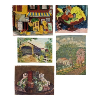Lot of Mid-Century Folk Art, Oil Paintings on Canvas Board by Artist Blanche Waterstreet; Lot of 5 For Sale