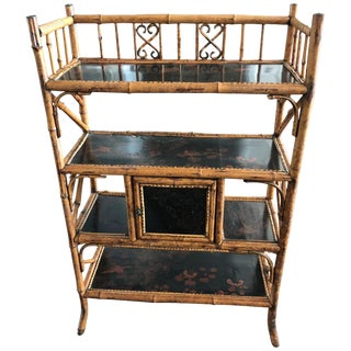 English Japanese Style Bamboo Bookcase Etagere For Sale